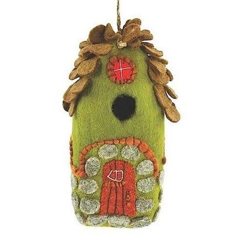 This hand felted wool birdhouse is made of sustainably harvested, naturally water repellent wool. Surface moisture from dew, rain or snow quickly dries in the open air. Wool is also naturally dirt and mold resistant. ArtisanExchange.org