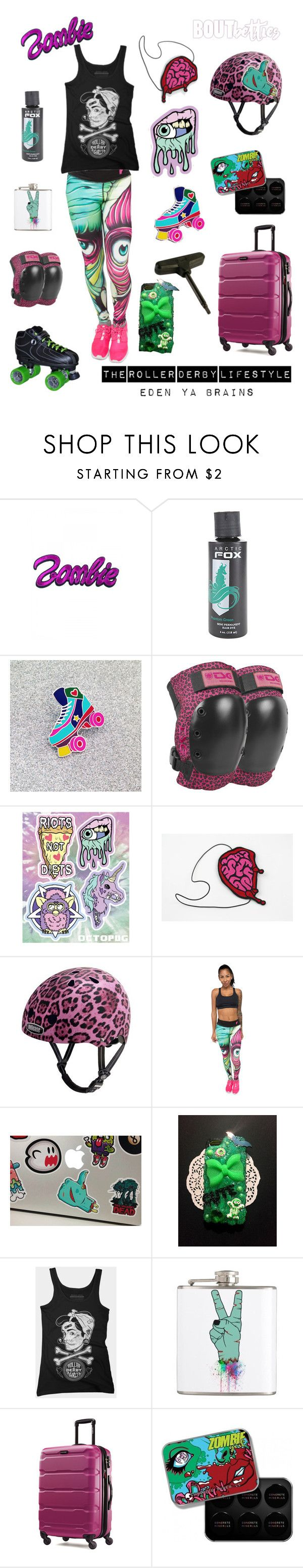 Roller derby | Fri-yay Fashion: Eden Ya Brains by Bout Betties on Polyvore featuring cutekawaii, Kreepsville 666, Samsonite and more