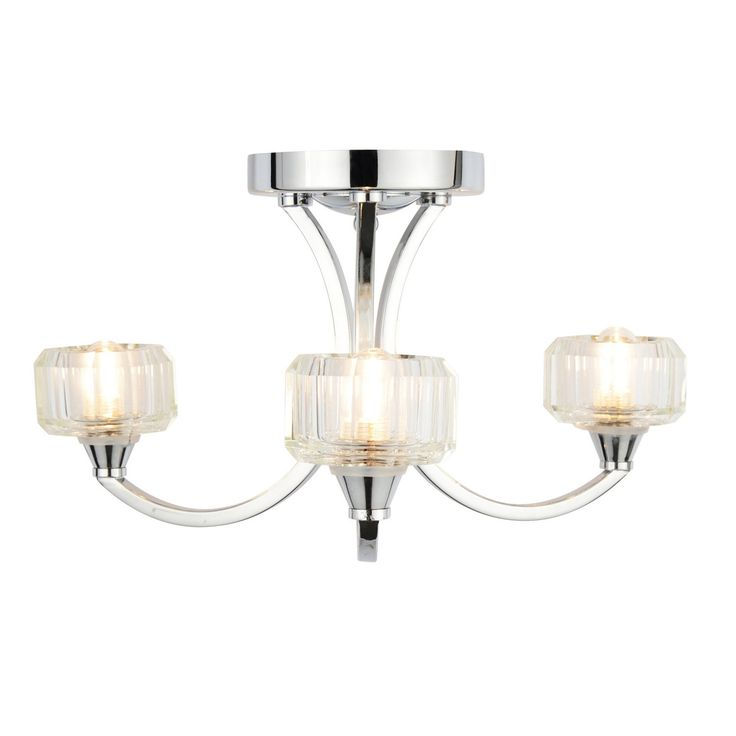 Litecraft Ocean 3 Light Bathroom Ceiling Light - Chrome- at Debenhams.com