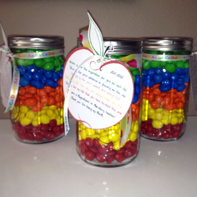Teacher appreciation jar with m poem.