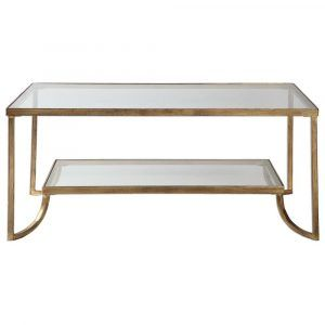 Antique Gold Glass Coffee Table
