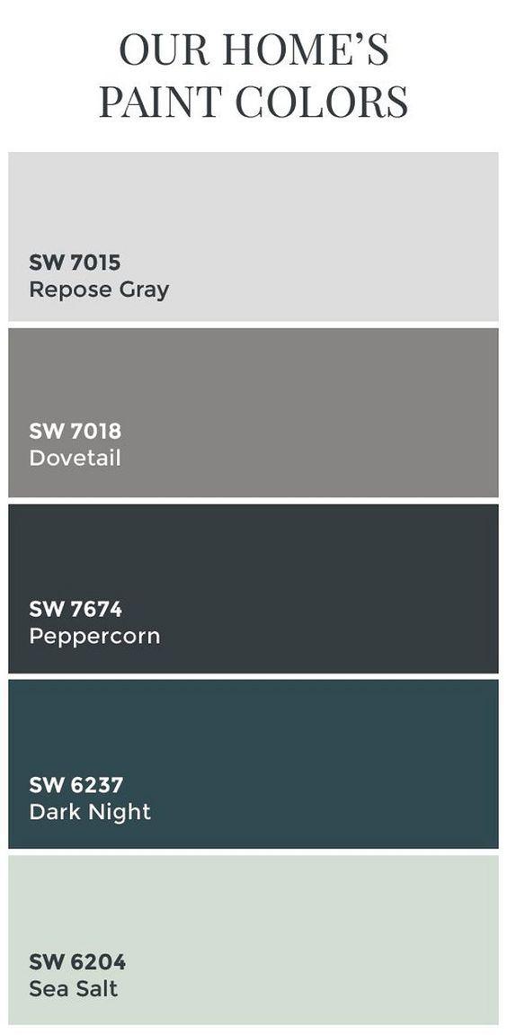Interior Design IdeasTransitional Home Color Scheme: Sherwin Williams SW7015 Repose Gray. Sherwin Williams SW7018 Dovetail. Sherwin Williams SW7674 Peppercorn. Sherwin Williams SW6237 Dark Night. Sherwin Williams SW6204 Sea Salt.