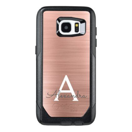 Pink Rose Gold Stainless Steel Monogram OtterBox Samsung Galaxy S7 Edge Case - gold gifts golden diy custom