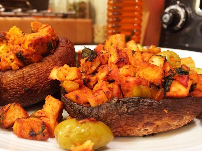 Portobello Mushrooms with Vegan Quorn and Olive Stuffing – The Vegan Household