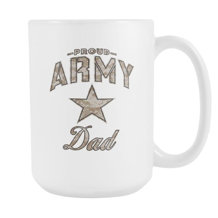 Army Dad Coffee Mug (Camo Design on White Cup)