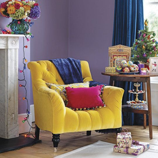 what a cheerful little roomwith a yellow velvet chair
