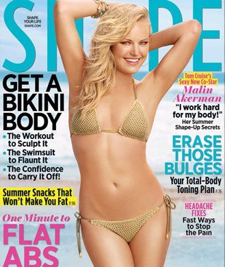 """Find out how Malin Akerman got ready for her bikini photos in SHAPE magazine from her diet plan to the workout that made the actress """"feel her tummy pooch melt away."""""""