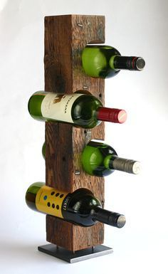 Handmade modern wine rack from reclaimed c.1860, N…