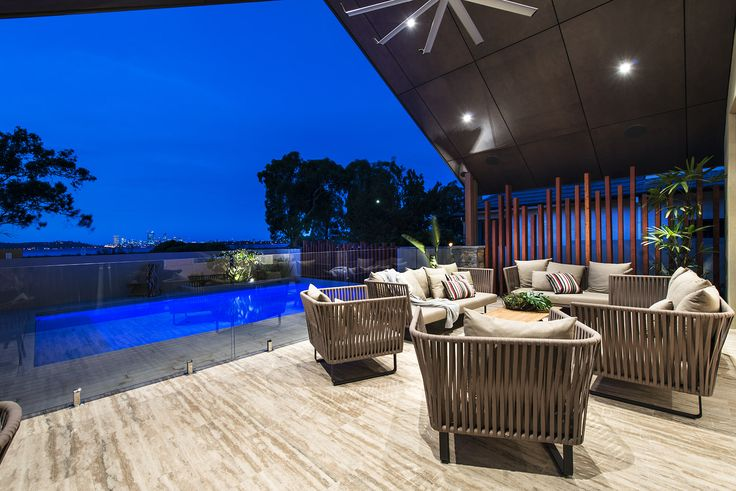 An outdoor lounge area for relaxing. Home designed and built by Urbane Projects, Perth.  Furniture by Mobilia