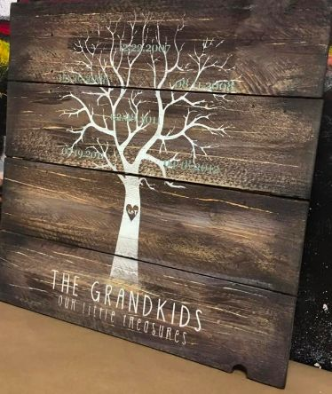 Grandkid tree $55 Up to 5 names at this price, price difference due at start of class. Please input names or dates you want on sign.