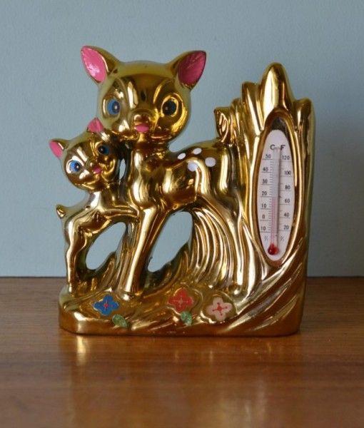 e kitsch Bambi thermometer vase gold lustreware