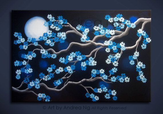[ Dream ] by Andrea Ng Surreal Blue Cherry Blossom Original Acrylic Painting