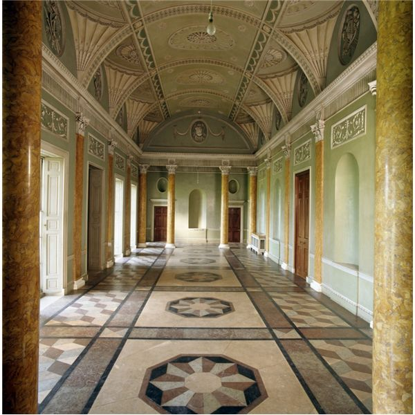 The entrance hall at Heveningham Hall in Suffolk, England, designed by James Wyatt.