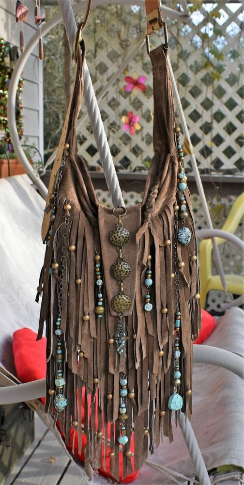 6ba9edc04b Handmade Brown Leather Fringe Bag Brass   Blue Boho By ShellB in ...
