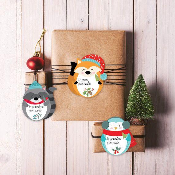 Christmas Gift Tags / Christmas Name Tags / Printable Holiday tags / Christmas place setting tags / Christmas woodland animals tags