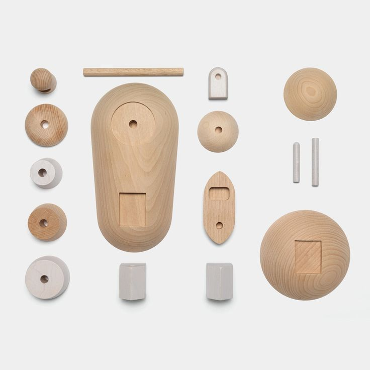 Permafrost's Archipelago wooden toy set with all the 16 parts layed out