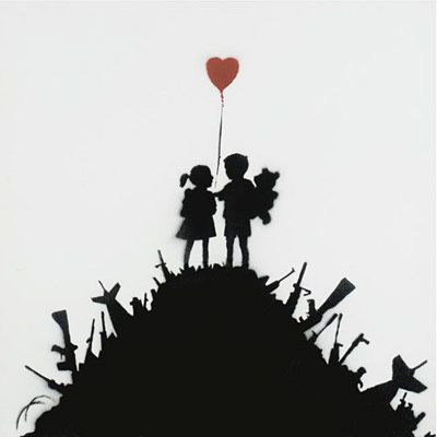 Watched a Banksy document and was reminded of his fine, ironic art. Luv.
