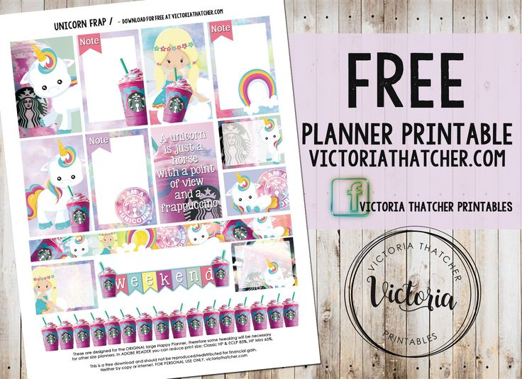 Free Unicorn Frap Planner Stickers from Victoria Thatcher