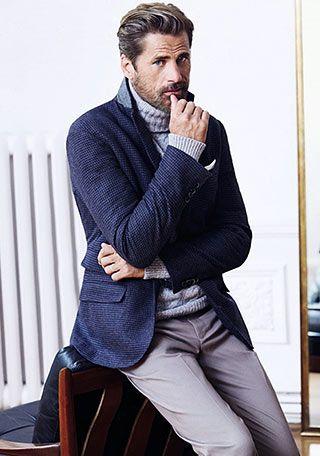 ネイビージャケット×グレータートルネックの着こなし【50代】(メンズ) | Italy Web