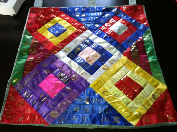 Make a quilt out of swim team ribbons!