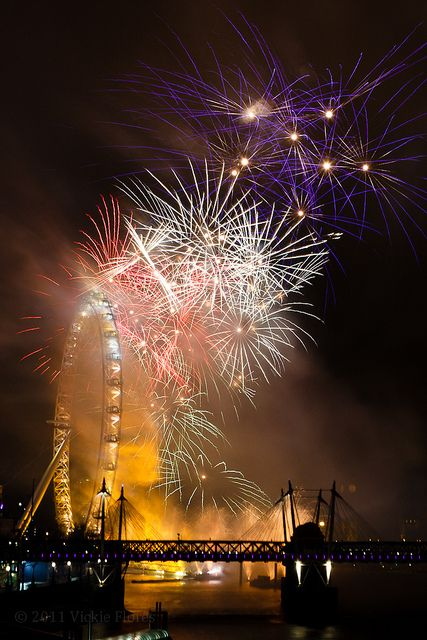 New Year fireworks - London Eye and Big Ben over the River Thames