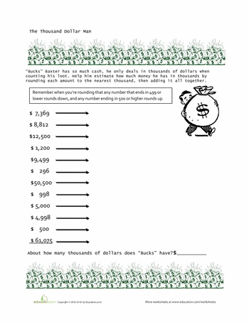 Rounding To The Nearest Thousand Fourth Grade Education Materials