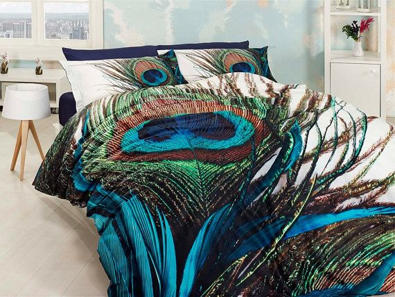3d 100 Cotton Blue And Green Unique Bedding Set For Double With Peacock Feather Design
