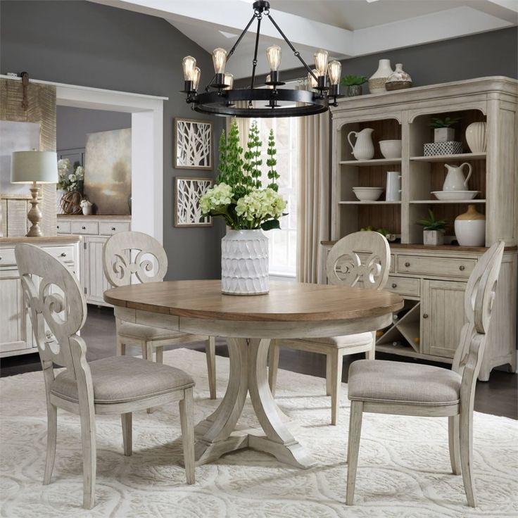 Farmhouse reimagined 5 piece dining set by liberty