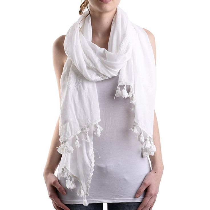SCARF IN WHITE COLOR WITH TASSELS - Scarfs/Sun Dresses