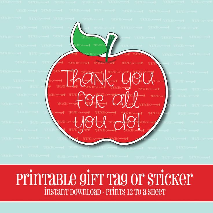 INSTANT DOWNLOAD,Apple Gift Tag,Teacher,Gift,Teacher Gift,Printable,Teacher Appreciation,Apple,Apple sticker,thank you by ThePeachandPineapple on Etsy