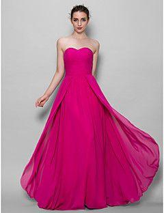 Lanting Bride® Floor-length Chiffon Bridesmaid Dress A-line Sweetheart with Criss Cross