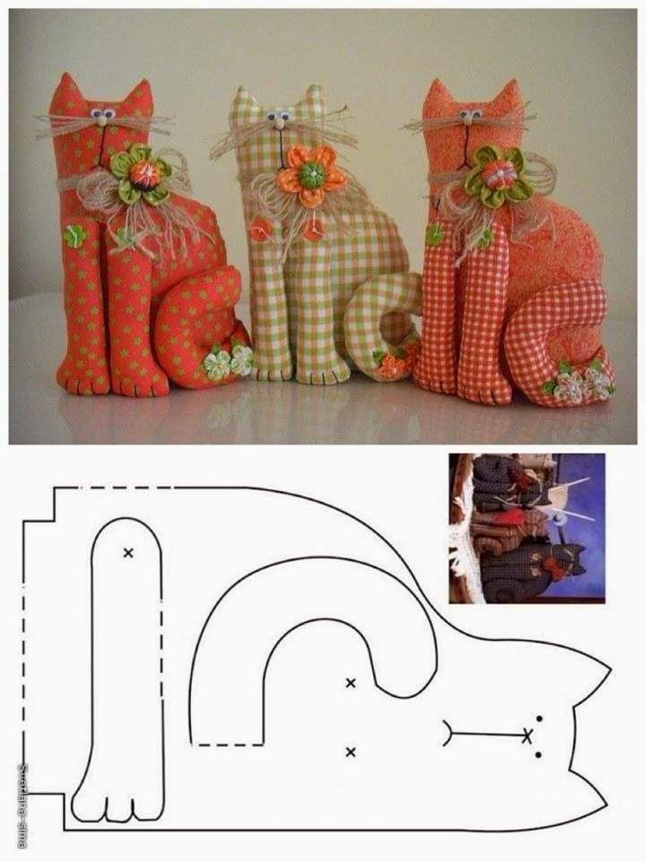 Fabric Cats w/ pattern. ARTE COM QUIANE Paps,Moldes,E.V.A,Feltro,Costuras,Fofuchas 3D: Molde gatinho de retalho