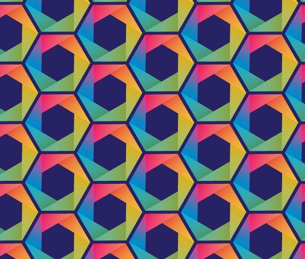 Create a Rainbow Hexagon Pattern Vector with a single ...