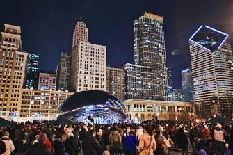 Don't miss caroling at the Bean in Millennium Park, Chicago. For more great ways to celebrate the holiday season: http://www.midwestliving.com/travel/illinois/chicago/thanksgiving-chicago/page/0/3/