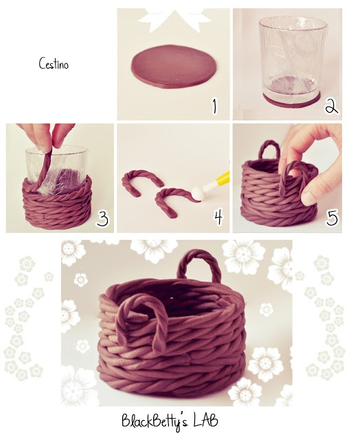 polymer clay basket - would be good to fill with goodies for the holidays as…
