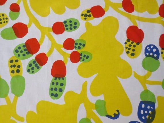 "Vintage 1974 Marimekko Katsuji Wakisaka ""Pähkinäpuu"" Huge Fabric Panel, 54 x 53 Inches"