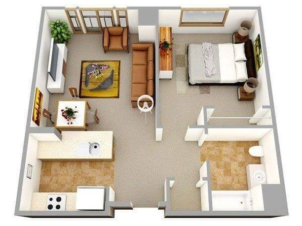 450 Me Gusta 1 Comentarios Architect Design Amazing Architect En Instagram 3d Fl Small House Floor Plans One Bedroom House One Bedroom House Plans