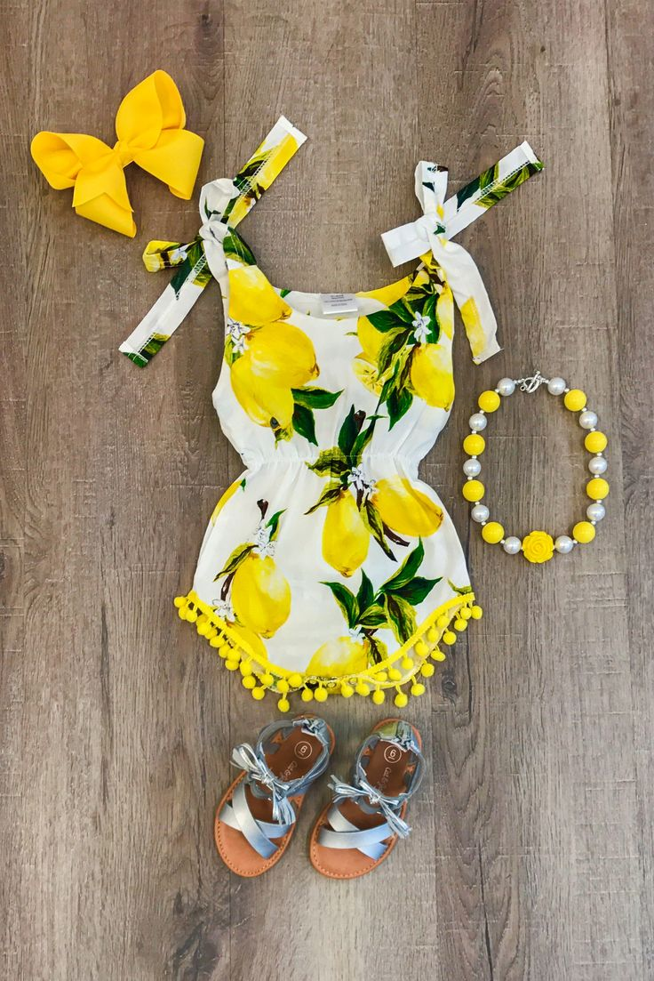 Yellow Lemon Pom Pom Romper