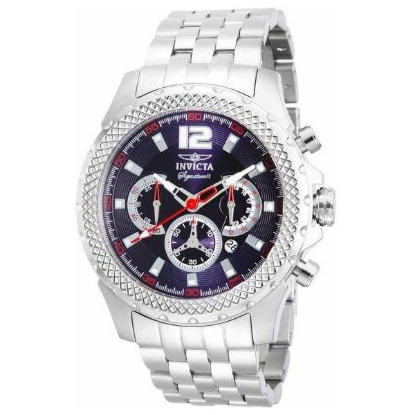 Men's Invicta Signature Men's Chronograph 48mm Watch Blue Quartz... ($75) ❤ liked on Polyvore featuring men's fashion, men's jewelry, men's watches, jewelry & watches, silver, invicta mens watches, mens watches jewelry, mens watches, blue dial mens watches and mens chronograph watch