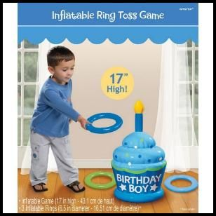 "Perfect party game for the little ones. Safe for indoors, the cake inflates to 17"" and comes with 3 inflatable rings. $6.99 Cdn. http://www.allthatstuff.net/Favors/favoursandfunstuff.htm"