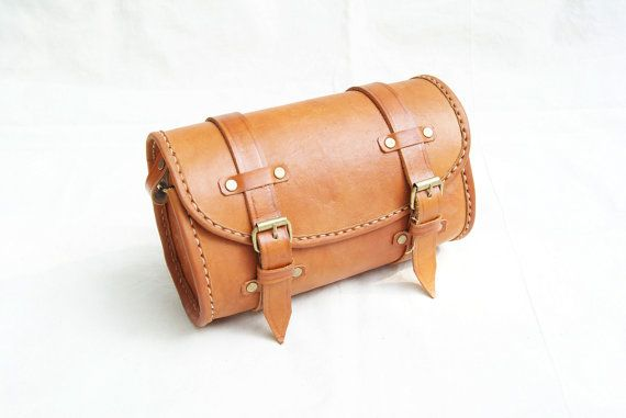 Cylinder Bag Brown Retro Cow  Leather by CoruscateLeatherBag, $98.00