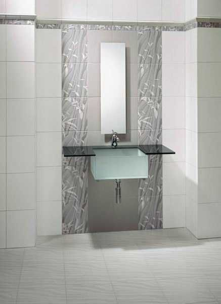 modern bathroom design with tiled walls