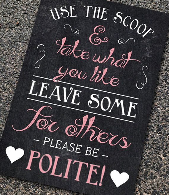 Rustic Chalkboard-Style Wedding Reception Candy Bar Sign in any size | Use the Scoop & Be Polite | Custom Vintage Poster Sign Decoration