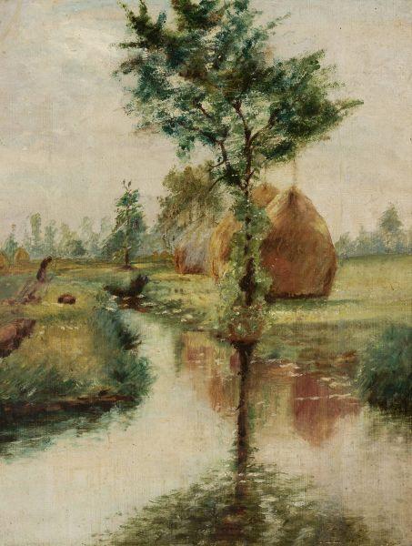 Stogi nad strumieniem - Władysław Podkowiński