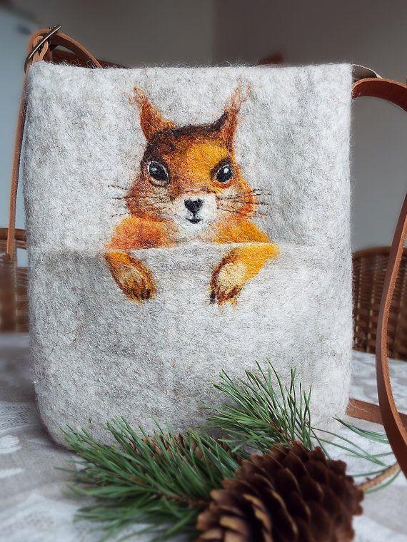 Christmas gift. Squirrel. Cross body bag. Fiber art от LarisaErmak