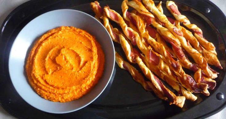 Houmous au poivron et torsades feuilletées au jambon cru. Facile et rapide à faire, parfait pour l'apéritif.. La recette par Luly cooker.