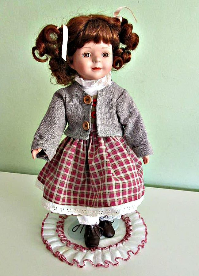 Vintage Porcelain Doll On Stand. Brown Hair Brown Eyes Doll, Collectible Hom Decor by Grandchildattic on Etsy