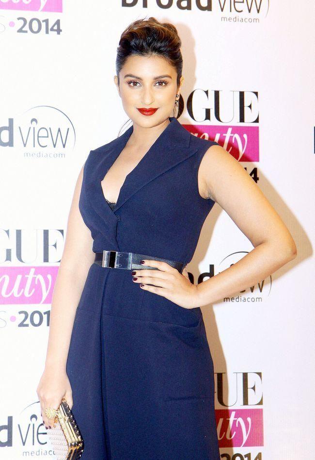 Parineeti Chopra wore a Dior jumpsuit at Vogue Beauty Awards 2014. #Style #Bollywood #Fashion #Beauty