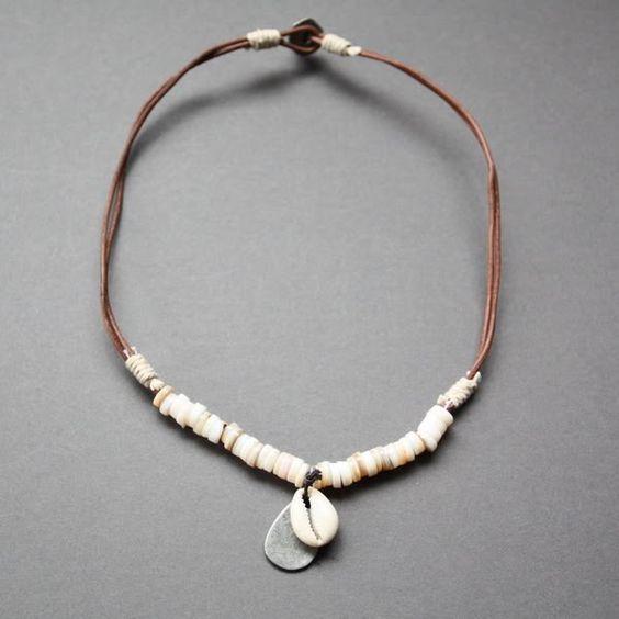 Necklaces for Men   Details about NEW Leather Men's Metal Surfer Necklace Choker Pendant …