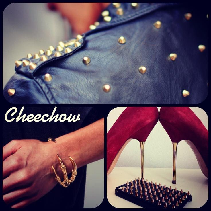 Spikes,heels,bracelet,leather jacket